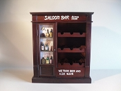 Dark Wood, Wine Rack, W/Side Door. W/Little Wine Bottles, & Decorative Writing,(Holds 9 Bottles) L-23 3/4 in  x W-11 1/4 in  x H-27 1/4 in